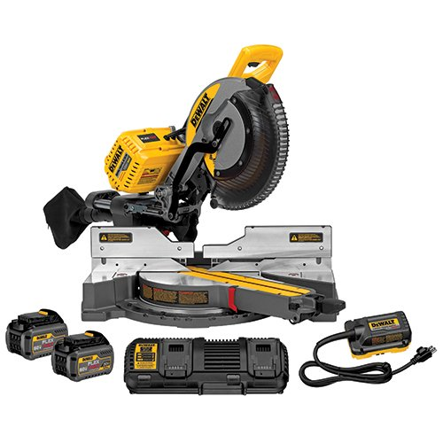 "DEWALT 12""(305mm) 120V MAX* Double Bevel Sliding Compound Miter Saw Kit with CUTLINE(TM) Blade Positioning System (includes 2 batteries, (1) dual port fast charger)DHS790"