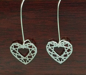 Heart Cut Gem Earrings | Silver