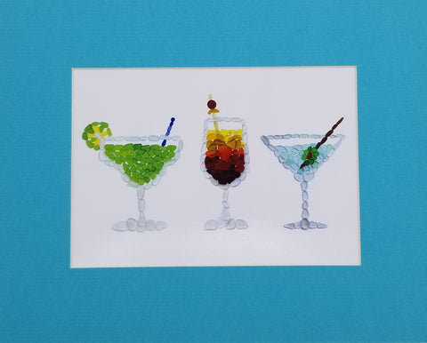 Sea Glass Cocktails Art Mosaic Matted Print (8 x 10)