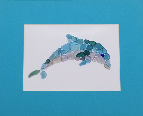 Sea Glass Dolphin Art Mosaic Porpoise Matted Print (8 x 10)