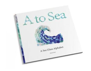 Alphabet kids book with coastal images made from sea glass to represent letters of the alphabet