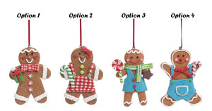Acrylic gingerbread men and women glitter Christmas ornaments