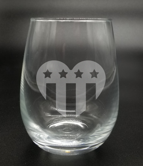 Heart American Flag - Etched Glass