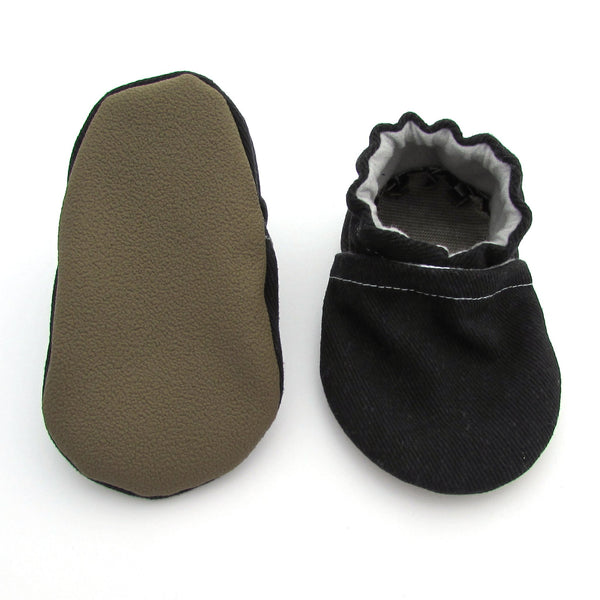 Black Brushed Denim Baby Shoes
