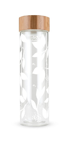 Blair White Leaf Pattern Glass Travel Infuser Mug (16oz)