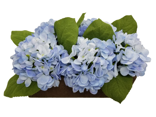 Blue Hydrangea Floral Arrangement in Wood Box