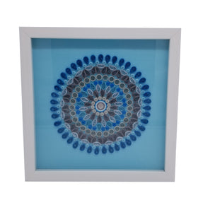 Blue Quilled Mandala in White Frame