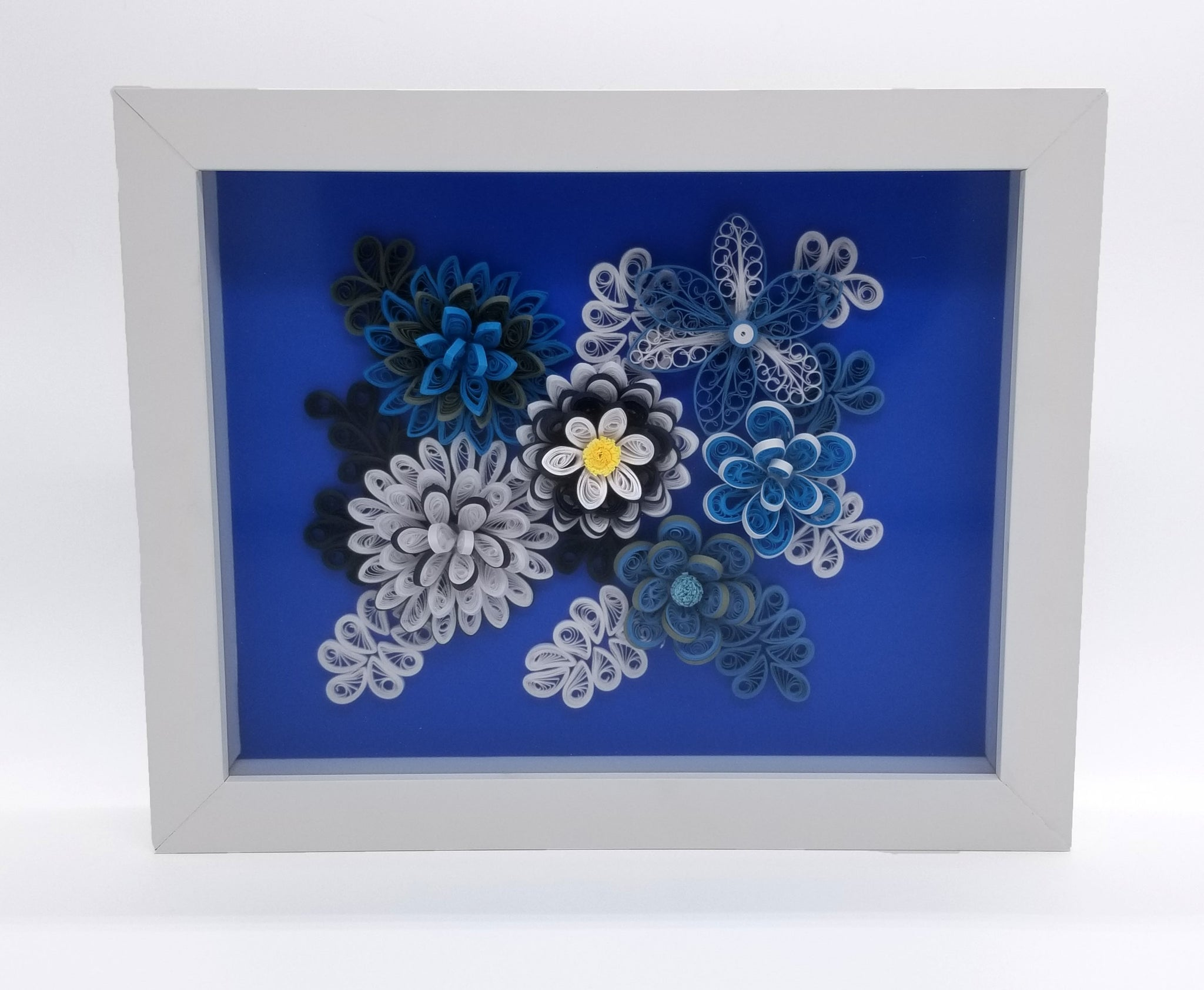Blue and White Quilled Flowers in White Frame