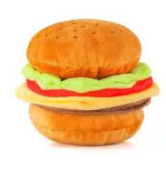 Burger dog toy with detachable components held together with velcro