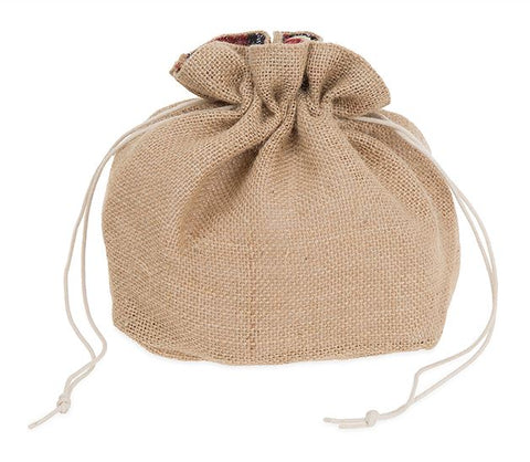 Burlap Sack with Drawstring - Christmas Plaid Trim
