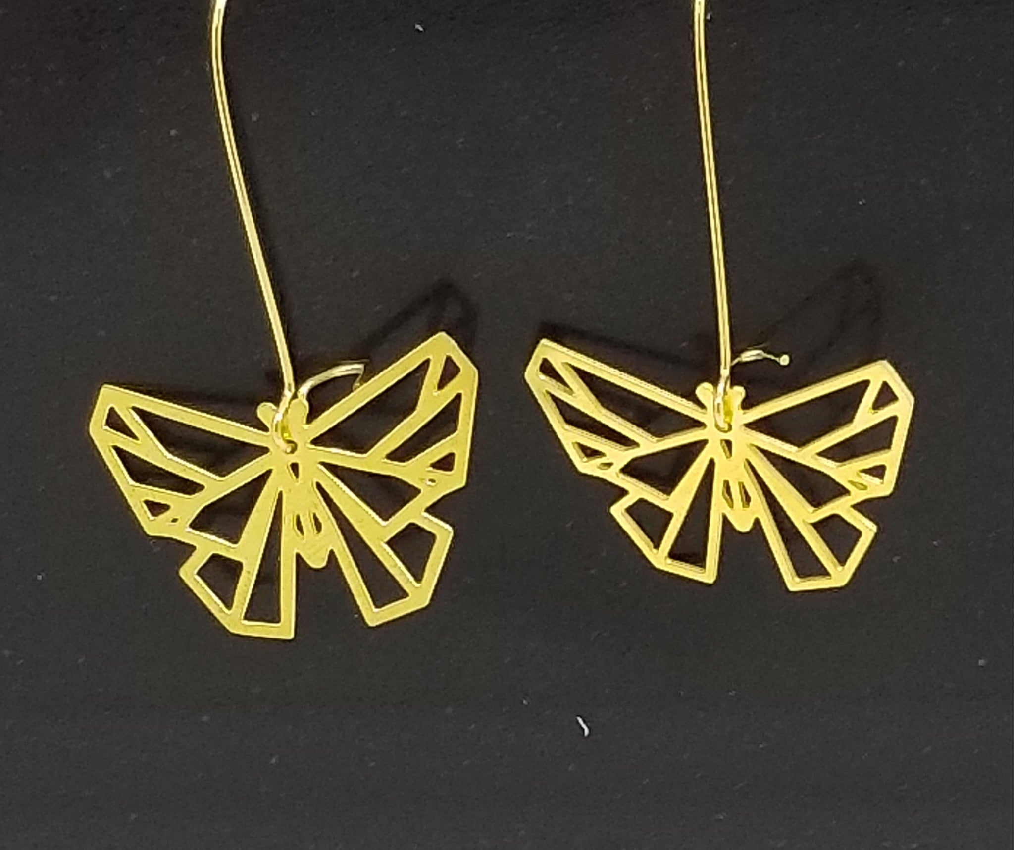 Butterfly Geometric Earrings | Brass