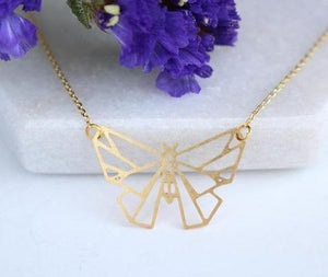 Butterfly Geometric Necklace | Brass