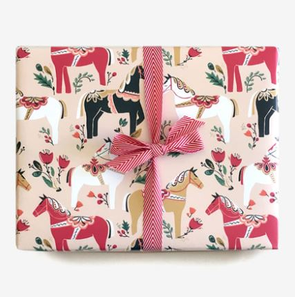 Dala Pony Gift Wrap in Blush | 3 Sheets