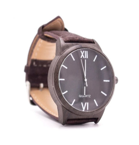 Dark Brown Wrist Watch with Dark Brown Cork Strap