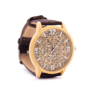Wrist Watch with Cork Face and Dark Brown Cork Strap