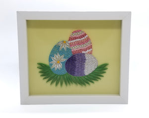 Quilled Easter Eggs in White Frame