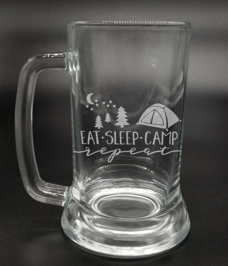 Eat Sleep Camp Repeat - Etched Glass