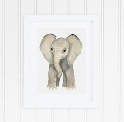 White 8 x 10 textured art print with a watercolor forward facing elephant printed in the middle