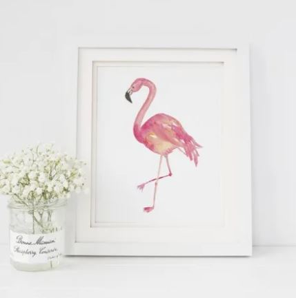 White 8 x 10 textured print with a watercolor flamingo printed in the middle