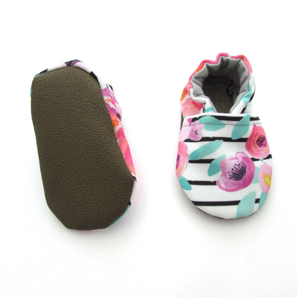 Floral Stripe Eco-Canvas Baby Shoes
