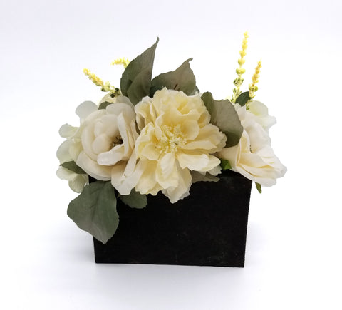White Floral Arrangement in Wood Box