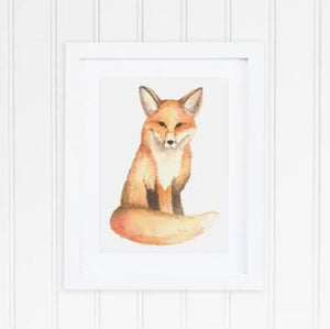 White 8 x 10 textured print with a sitting watercolor fox in the middle