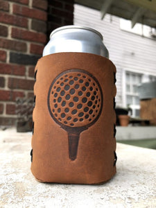 Golf Ball Leather Can Cooler