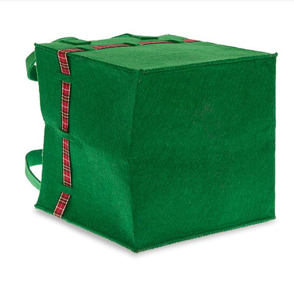 Green Square Felt Bag with Holiday Plaid Trim