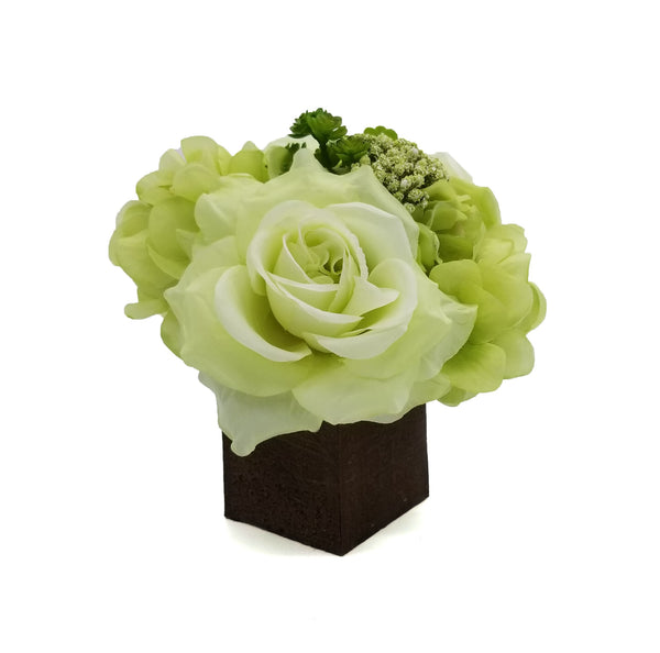 Green Floral Arrangement in Wood Box