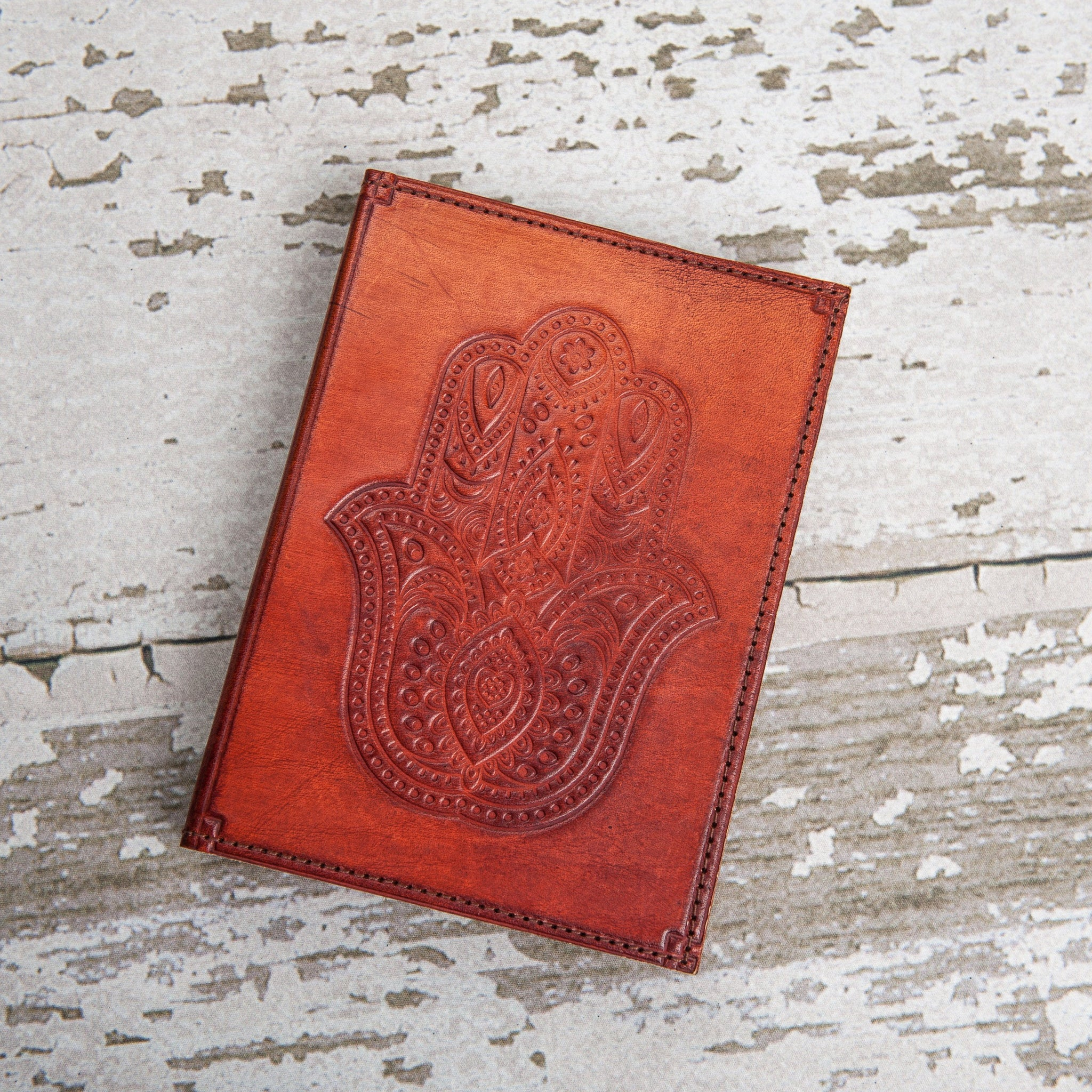 Refillable Hamsa Handmade Leather Journal - Grid Paper