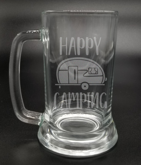 Happy Camping - Etched Glass