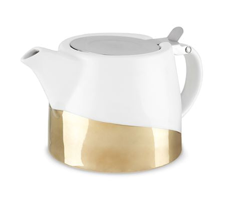 Harper Gold Dipped Ceramic Teapot & Infuser