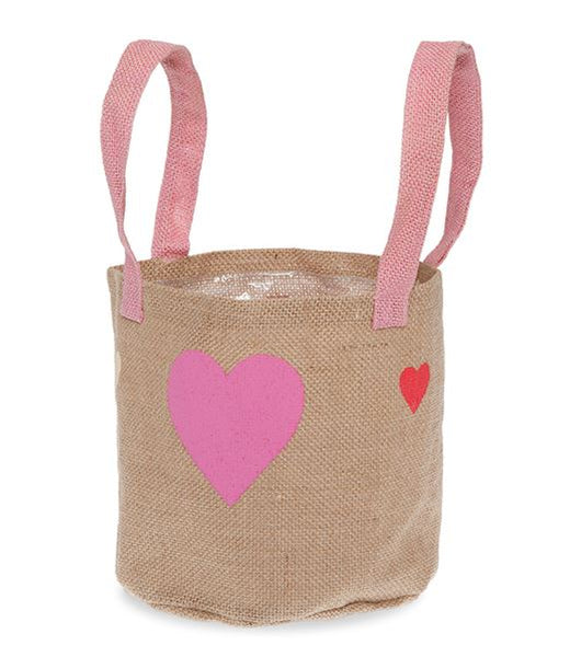 Natural Jute Round Handle Bag with Hearts