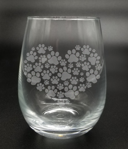 Heart Made of Paw Prints - Etched Glass
