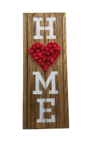 "Wood ""Home"" Sign with Paper Flowers"