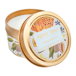 Honey Almond - Hawaiian Aromatherapy Gold Tin Candle