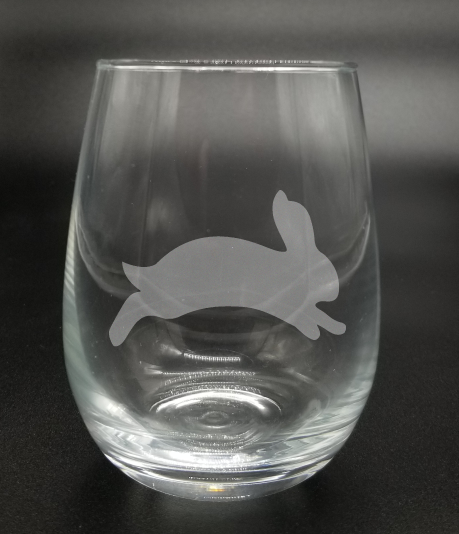 Jumping Bunny - Etched Glass