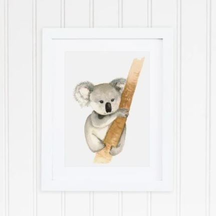 White 8 x 10 textured art print with watercolor koala on tree branch
