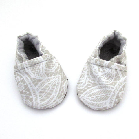 Lace Print Eco-Canvas Baby Booties