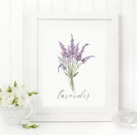"White 8 x 10 textured print with a watercolor bunch of lavender with ""lavender"" written in script underneath"