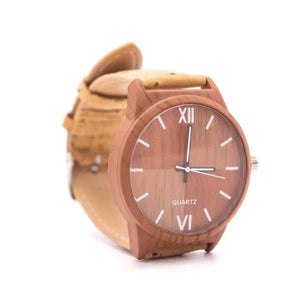 Light Brown Wrist Watch with Tan Cork Strap