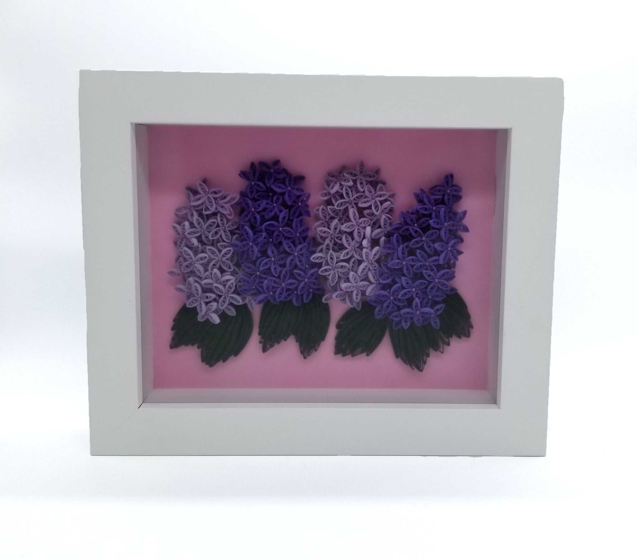 Quilled Lilacs in White Frame