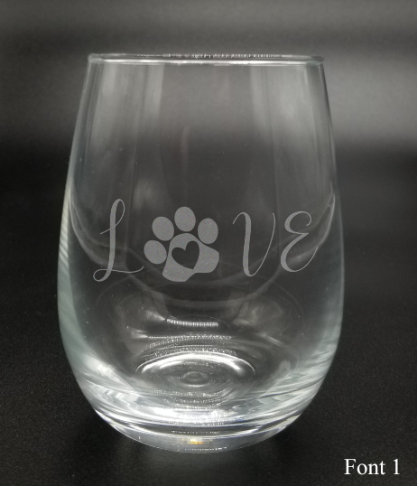 Love Pawprint - Etched Glass