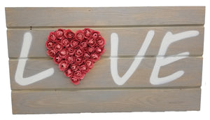 "Wood ""Love"" Sign with Paper Flowers"