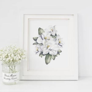 White 8 x 10 textured print with a watercolor bunch of magnolia flowers and leaves
