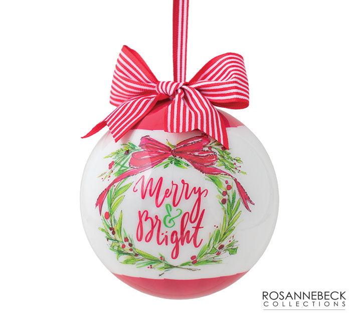 "4"" Merry and Bright Wreath Ornament"