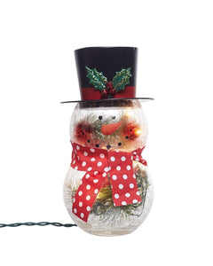 Metal Light Up Crackle Glass Snowman