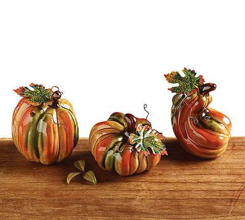 Mini Ceramic Pumpkin Set w/Metal Leaves Set