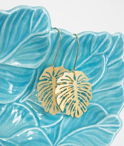 Monstera Leaf Earrings | Gold Plated