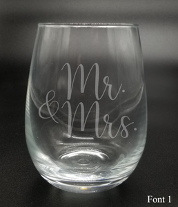 Mr. and Mrs. - Etched Glass